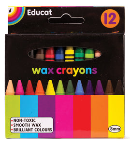 Wax Crayons -Small 8 mm  (12's)