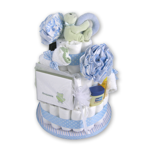 Load image into Gallery viewer, Diaper Cake Baby Boy Gift Basket