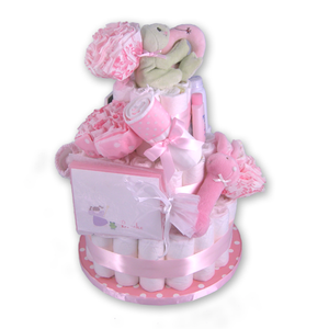 Diaper Cake Baby Girl Gift Basket