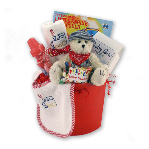 The Little Engine that Cooed Baby Boy Gift Basket