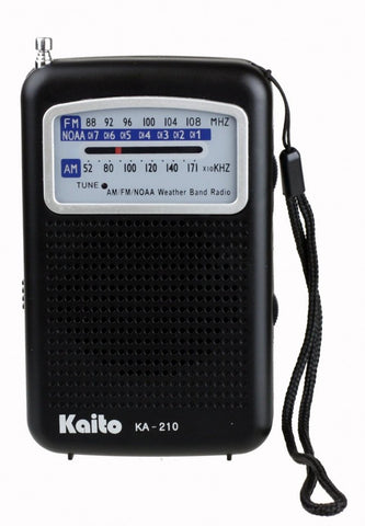 Kaito KA210 Pocket AM/FM NOAA Weather Radio, Black