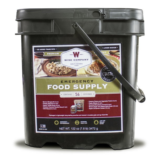 Wise Emergency Freeze Dried Breakfast and Entree Bucket - 56 Servings
