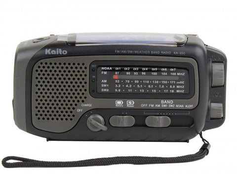 Kaito KA350YLW Voyager Trek Solar/Crank AM/FM/SW NOAA Weather Radio with 5-LED Flashlight,Grey