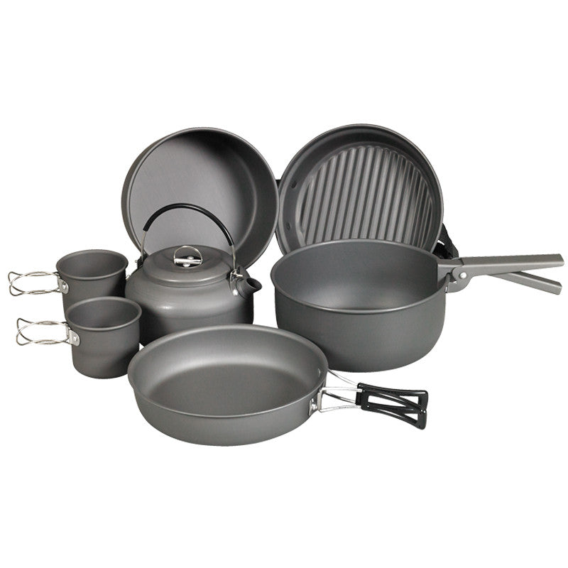 NDUR - 9 PIECE COOKWARE MESS KIT W/KETTLE