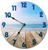 Deck On The Ocean Beach Hanging Wall Clock