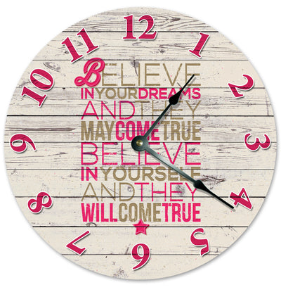 Believe In Yourself And Dreams Hanging Wall Clock