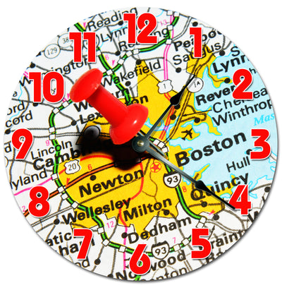 Decorated Map of Boston Location Wall Clock