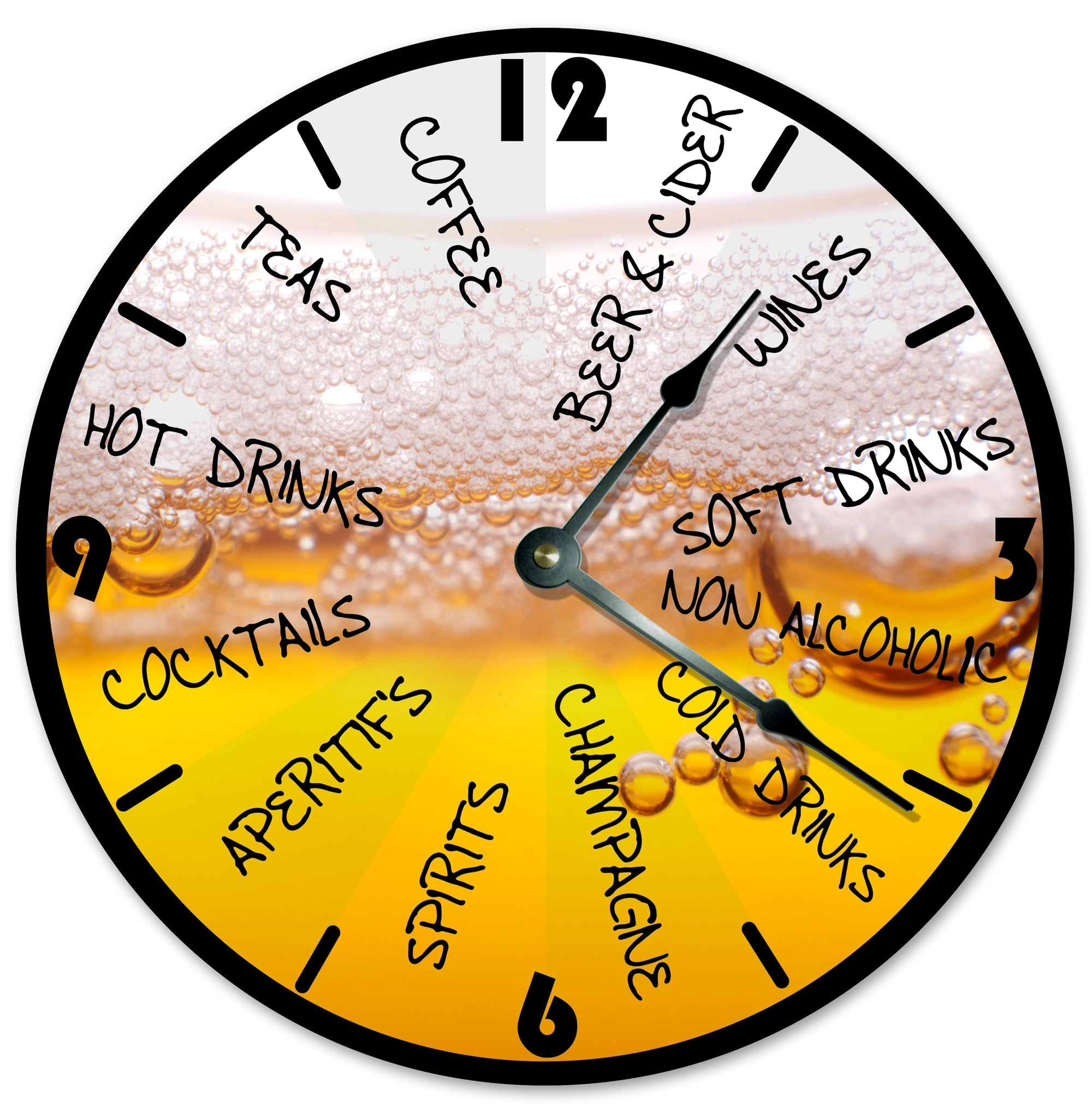 Yellow And Brown Color Drinks Beer Hanging Wall Clock