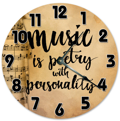 Music Is Poetry With Personality Hanging Wall Clock