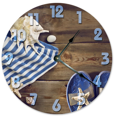 Blue White Umbrella And Sandles Hanging Wall Clock