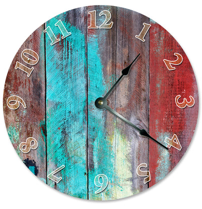 Blue Red Wood Paint Home Decor Hanging Wall Clock