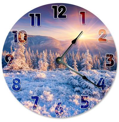 Evening Time Mountains Top Trees Hanging Wall Clock