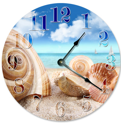 Brown Color Sea Shells On Shore Hanging Wall Clock