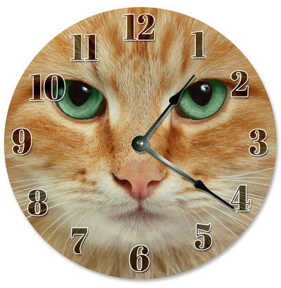 Grean And Black Eyes Orange Face Cat Wall Clock