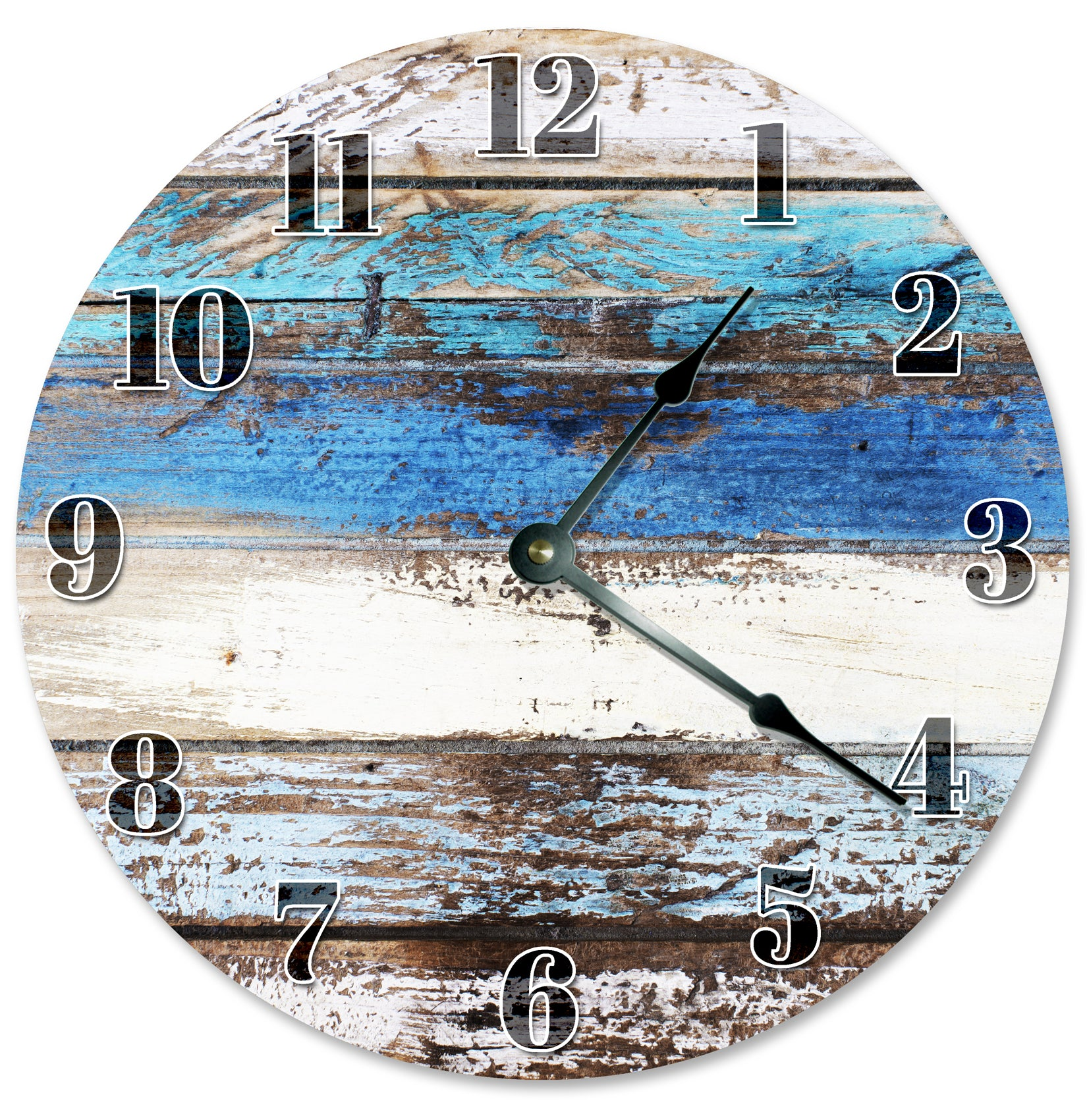 Worn Rustic Wood Blue Hanging Wall Clock