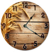 Wheat On Wood Handmade Hanging Wall Clock