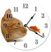Gold Fish And Orange Cat Hanging Wall Clock