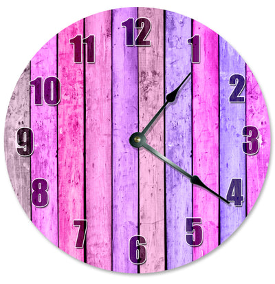 Magenta Pink Wood Boards Hanging Wall Clock