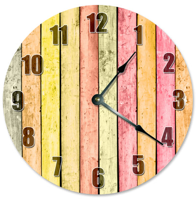 Yellow Orange Color Wood Boards Hanging Wall Clock