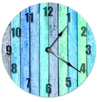 Blue Green Wood Boards Home Decor Hanging Wall Clock