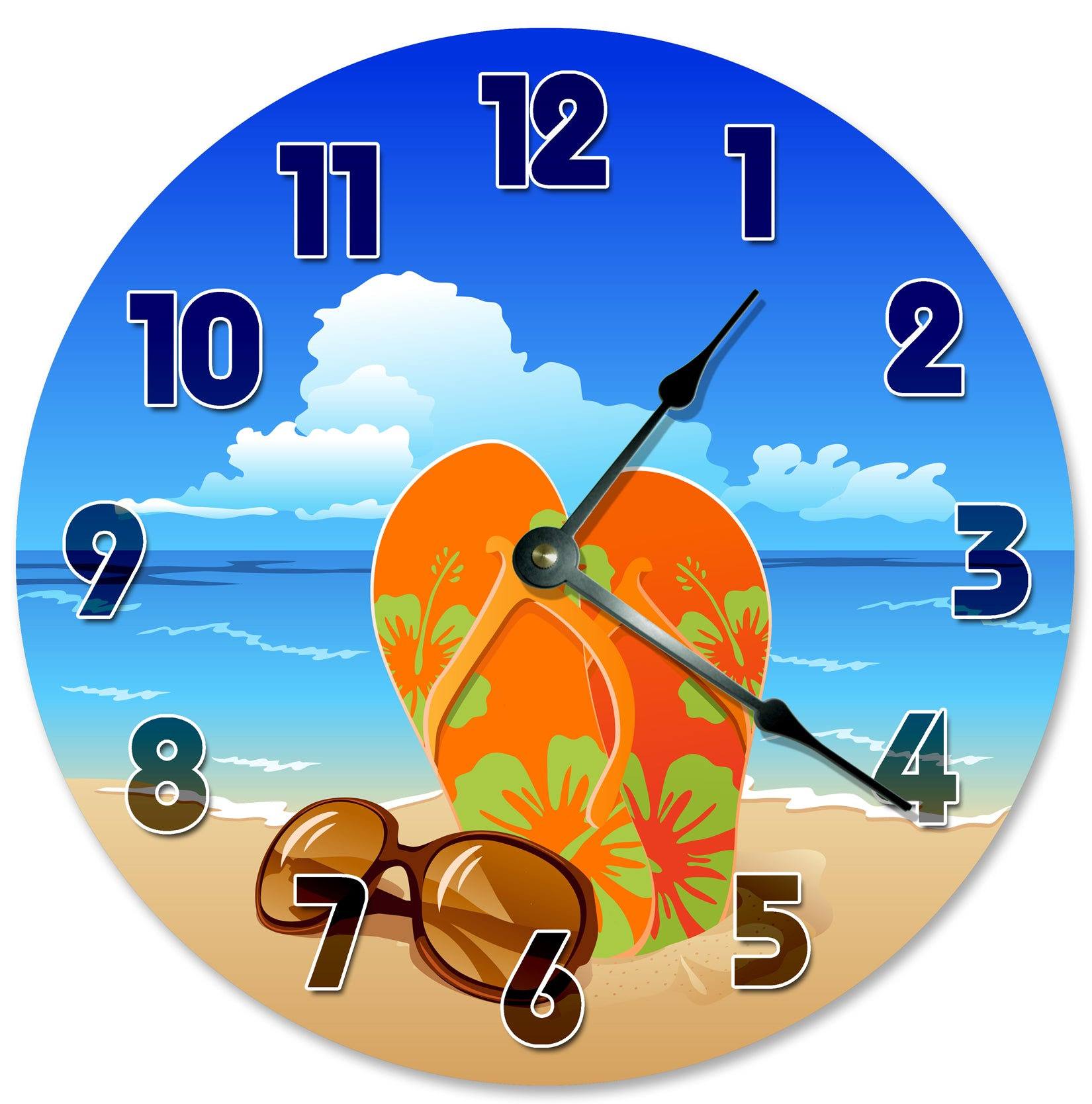 Sandles Sunglases On Beach Hanging Wall Clock