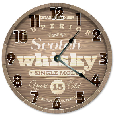 Scoth Whiskey Barrel Hanging Wall Clock