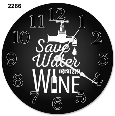 Black Background Save Water Drink Hanging Wall Clock