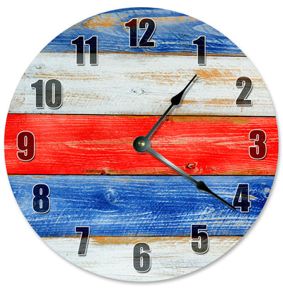 Red White And Blue Colors Wood Grain Hanging Wall Clock