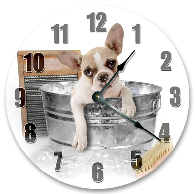 French Bulldog In Bucket Hanging Wall Clock