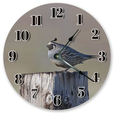 California Quail On Stump Hanging Wall Clock