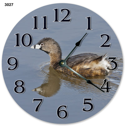 Pied Billed Grebe Bird Handmade Hanging Wall Clock