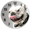 White Bulldog Face Hanging Wall Clock