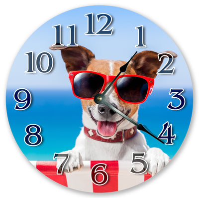 Puppy With Black Sunglasses Hanging Wall Clock
