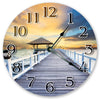 Dock With Gazebo On Beach Hanging Wall Clock