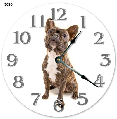 French Buldog Puppy Handmade Hanging Wall Clock