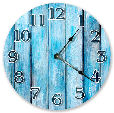 Blue Cyan Wood Home Decor Handmade Hanging Wall Clock