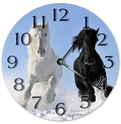 Black And White Mustangs Hanging Wall Clock