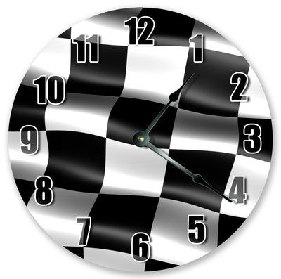 Black And White Race Flag Hanging Wall Clock