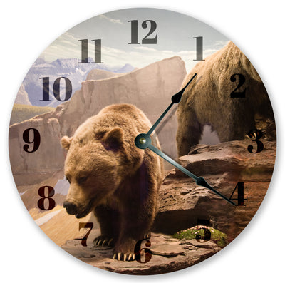 Two Grizzly Bear Handmade Hanging Wall Clock