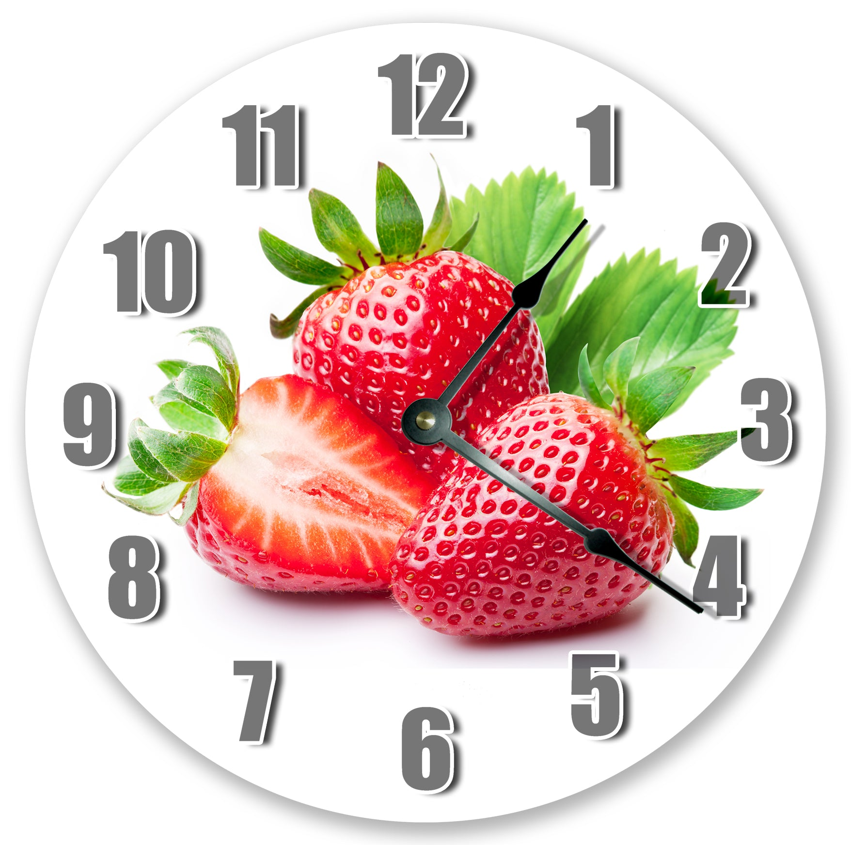 Red Strawberries Fruit Hanging Wall Clock