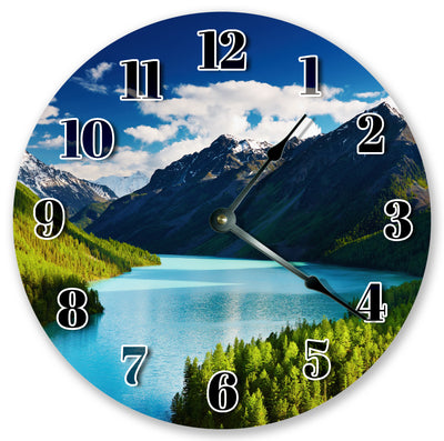 Blue Water Mountains Home Decor Hanging Wall Clock
