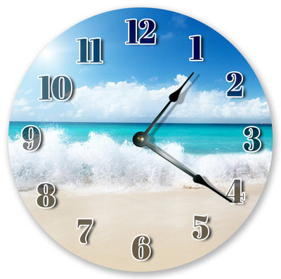 Splashing Beach Waves Hanging Wall Clock