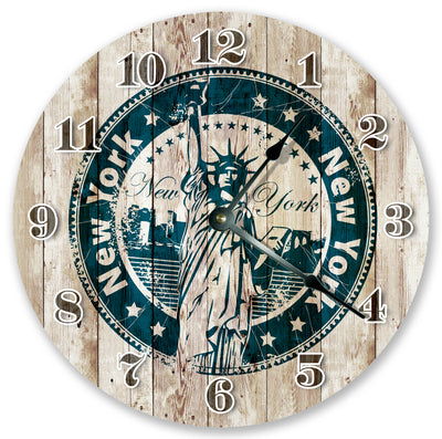 NY Statue Stamp Home Decor Hand Made Wall Clock