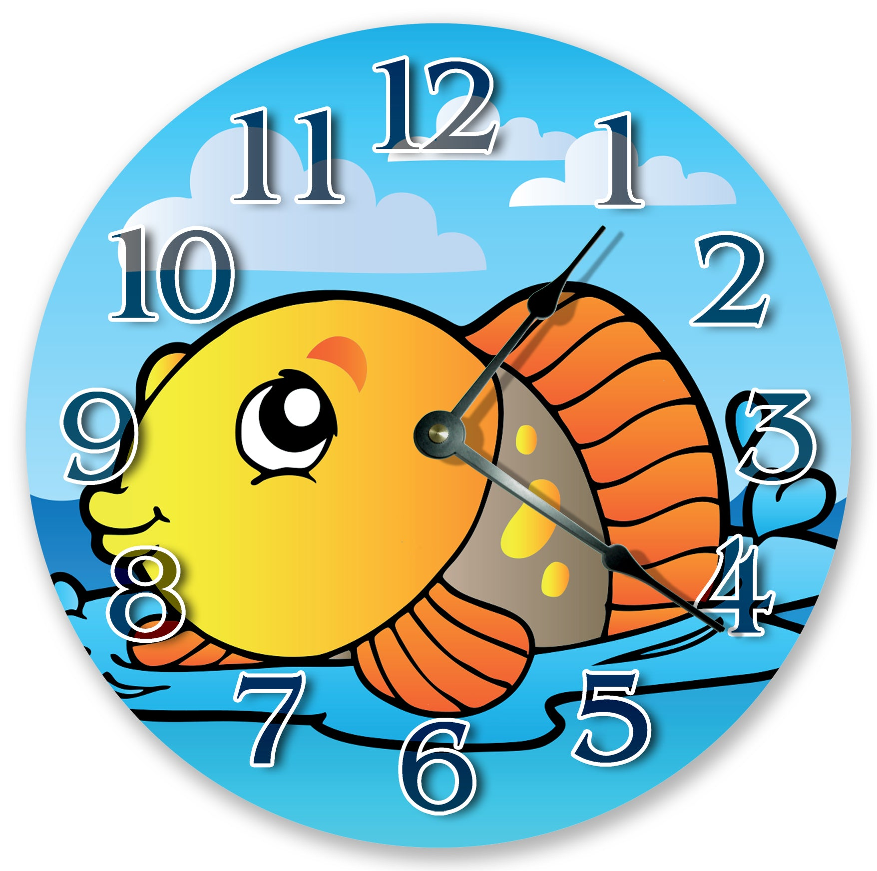 Ocean Creatures Cute Gold Fish Nursery Kids Hanging Wall Clock