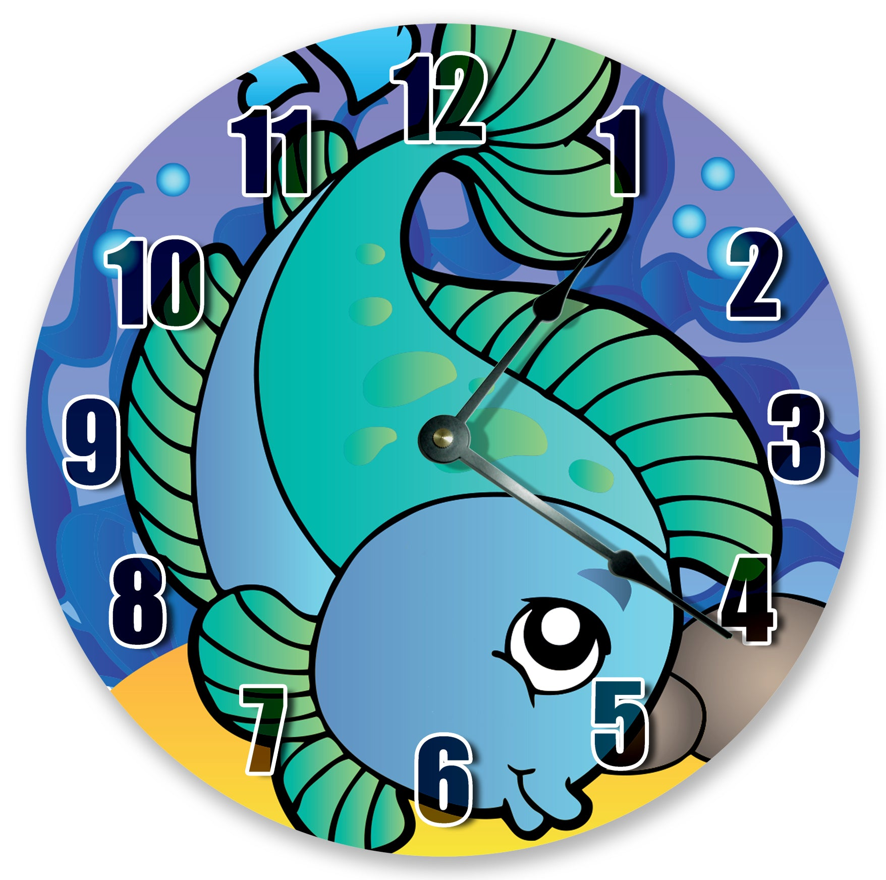 Ocean Creature Cute Blue Fish Nursery Kids Hanging Wall Clock