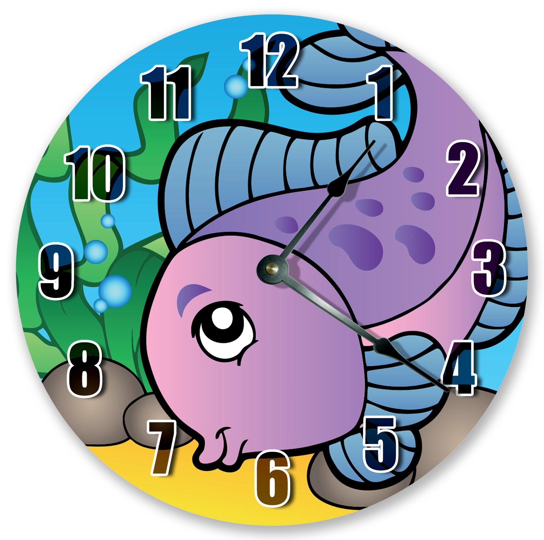 Ocean Creatures Cute Pink Fish Nursery Kids Hanging Wall Clock