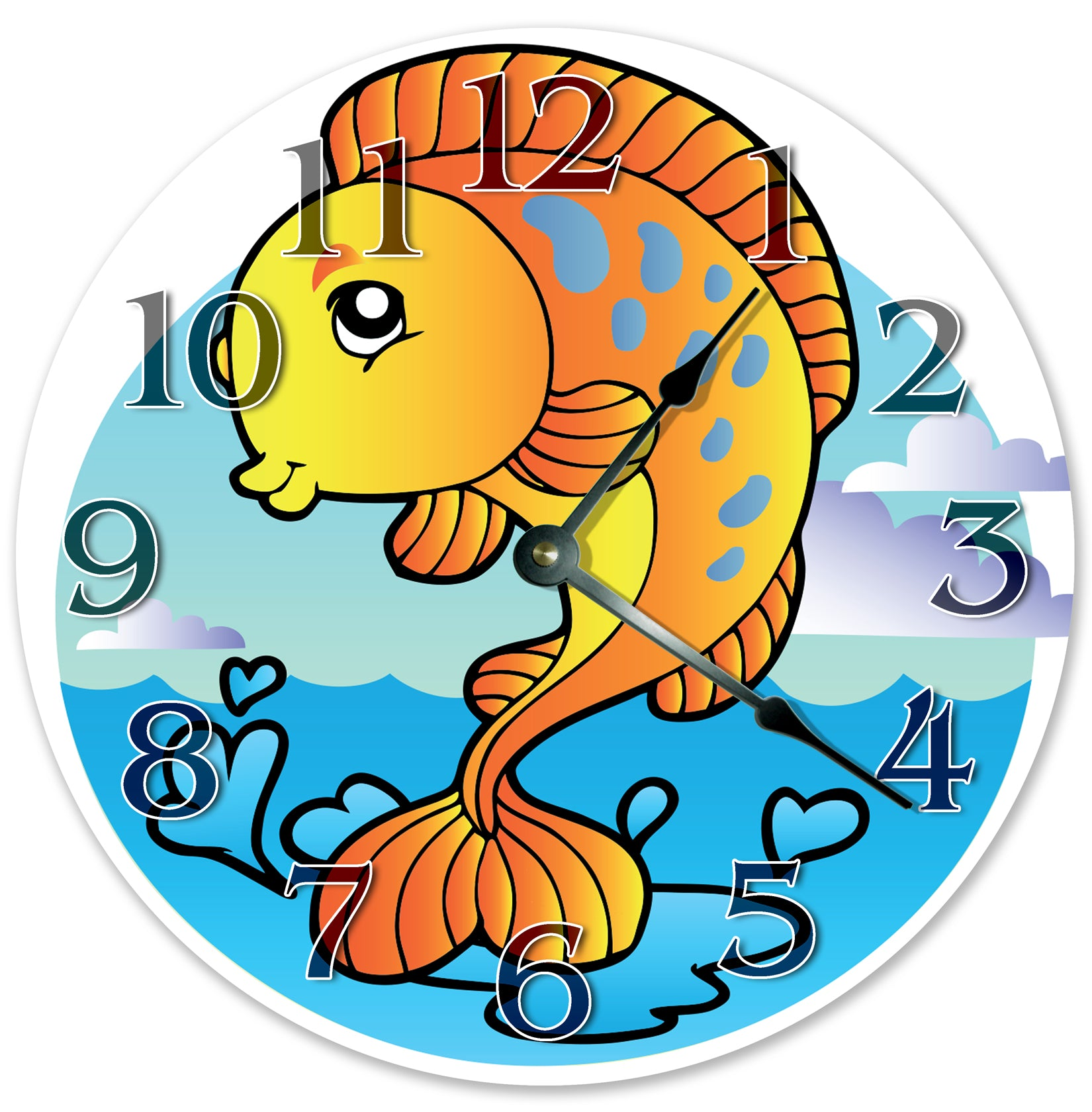 Happy Golden Fish Nursery Kids Hanging Wall Clock