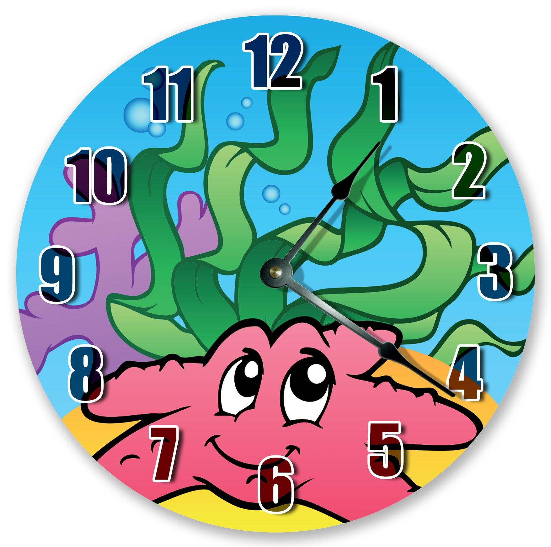 Cute Pink Starfish Ocean Sea Creatures Hanging Wall Clock