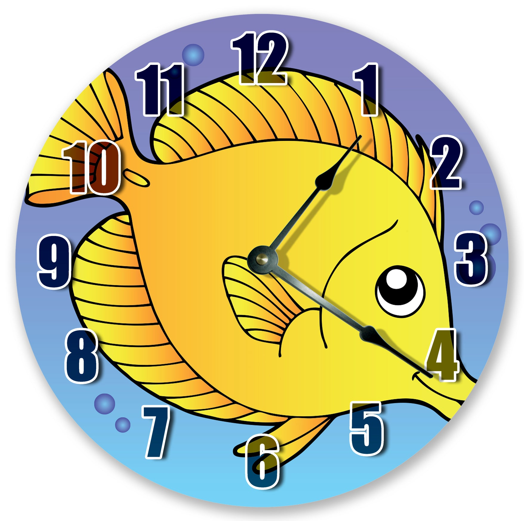 Cartoon Gold Fish Ocean Sea Creatures Hanging Wall Clock