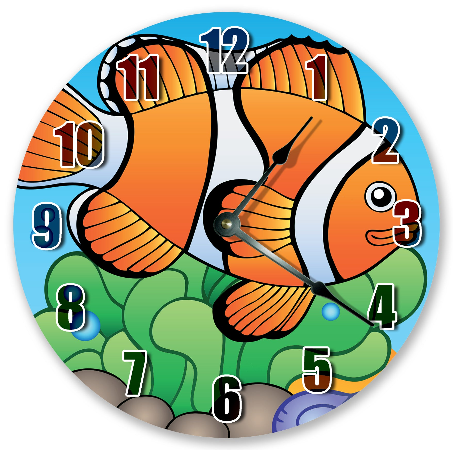 Cartoon Clown Fish Hanging Wall Clock